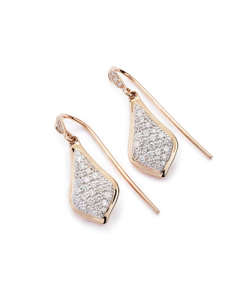 Lexi Drop Earrings in Pave Diamond and 14k Rose Gold