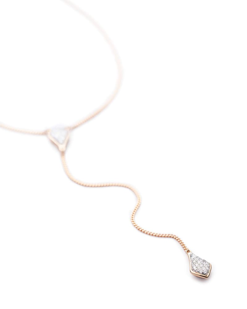 Lillian Lariat Necklace in Pave Diamond and 14k Rose Gold
