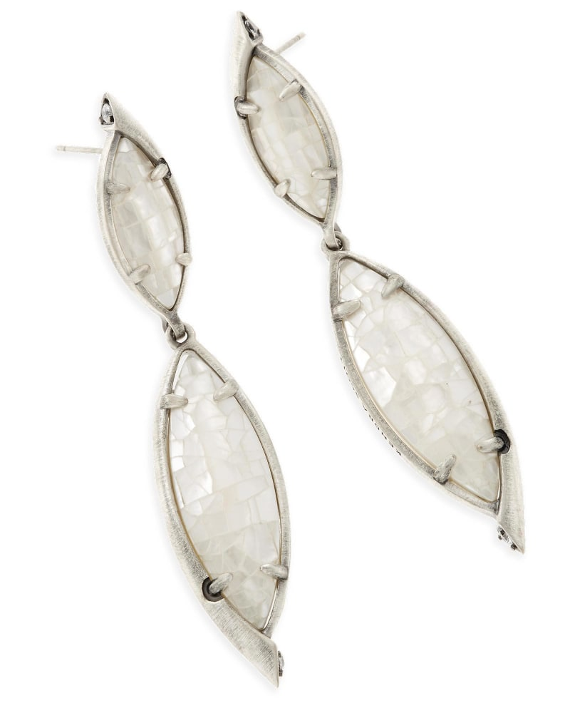 Maisey Statement Earrings in Crackle Ivory Pearl