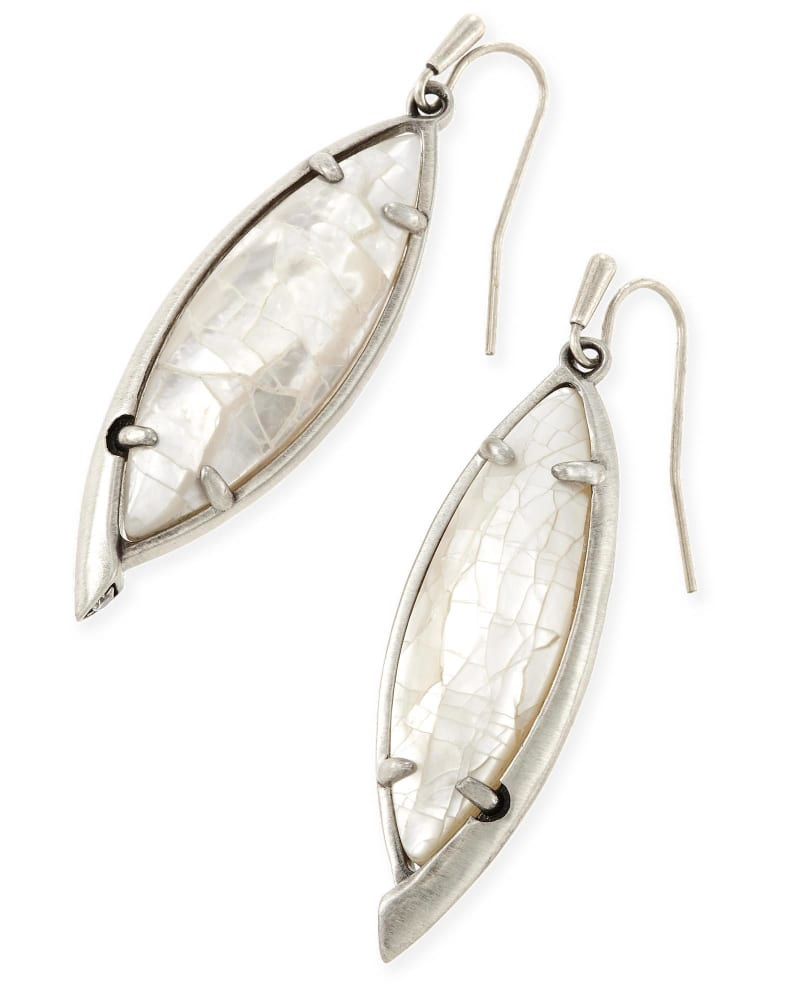 Maxwell Drop Earrings in Crackle Ivory Pearl