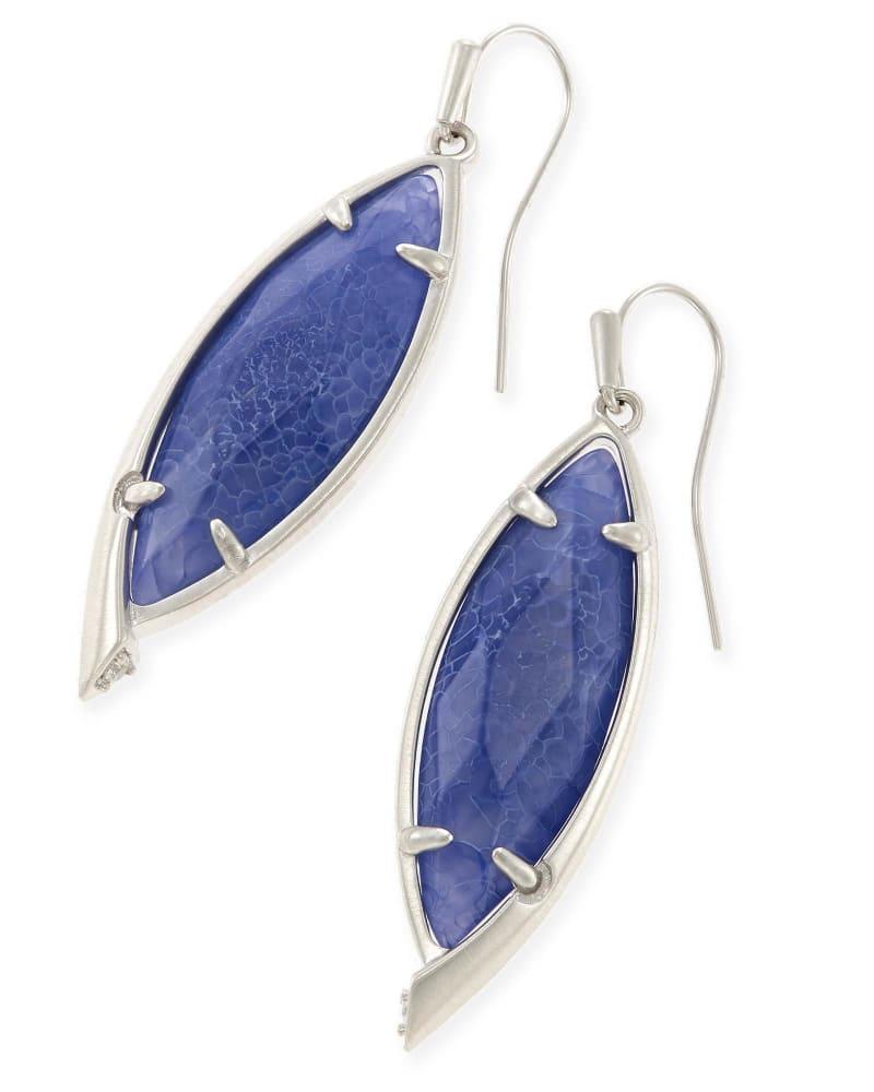 Maxwell Drop Earrings in Crackle Blue Agate