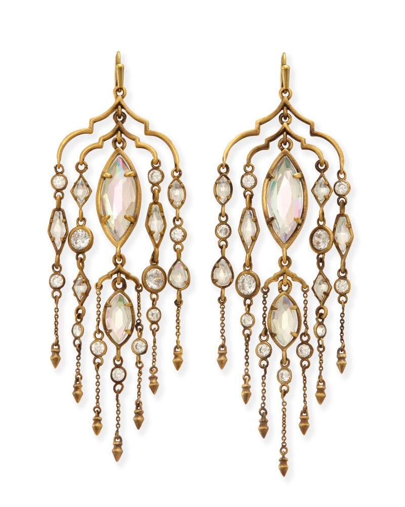 Emma Shoulder Duster Earrings in Antique Brass