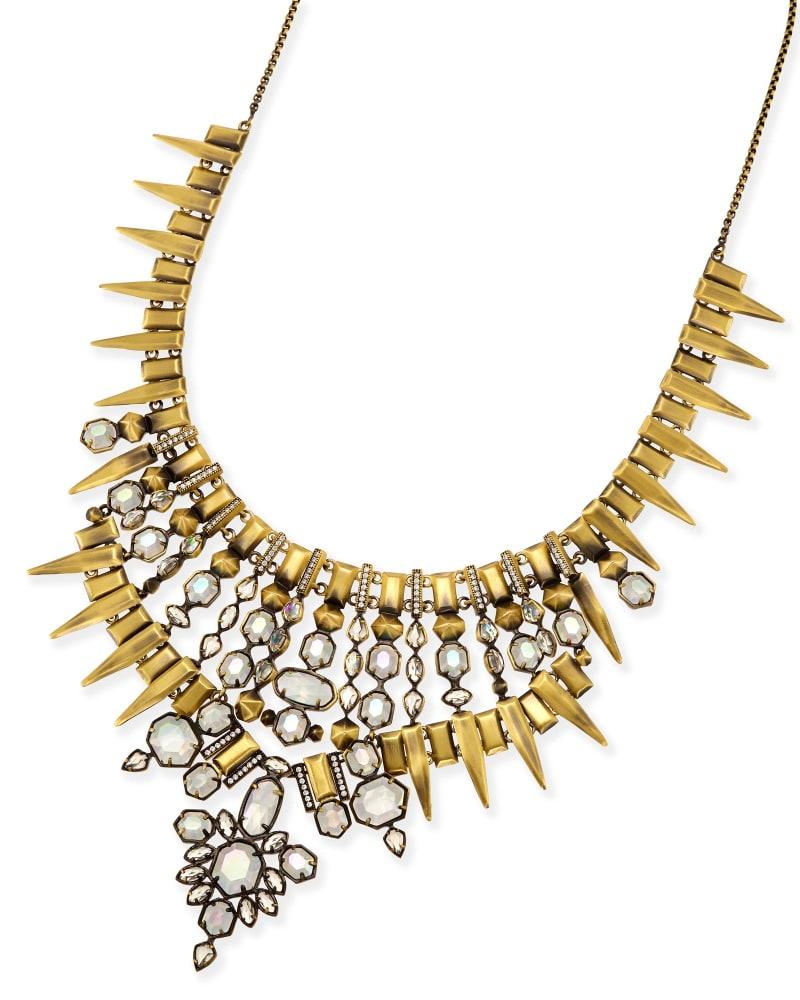 Seraphina Statement Necklace in Antique Brass