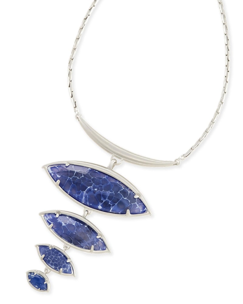 Morris Statement Necklace in Crackle Blue Agate