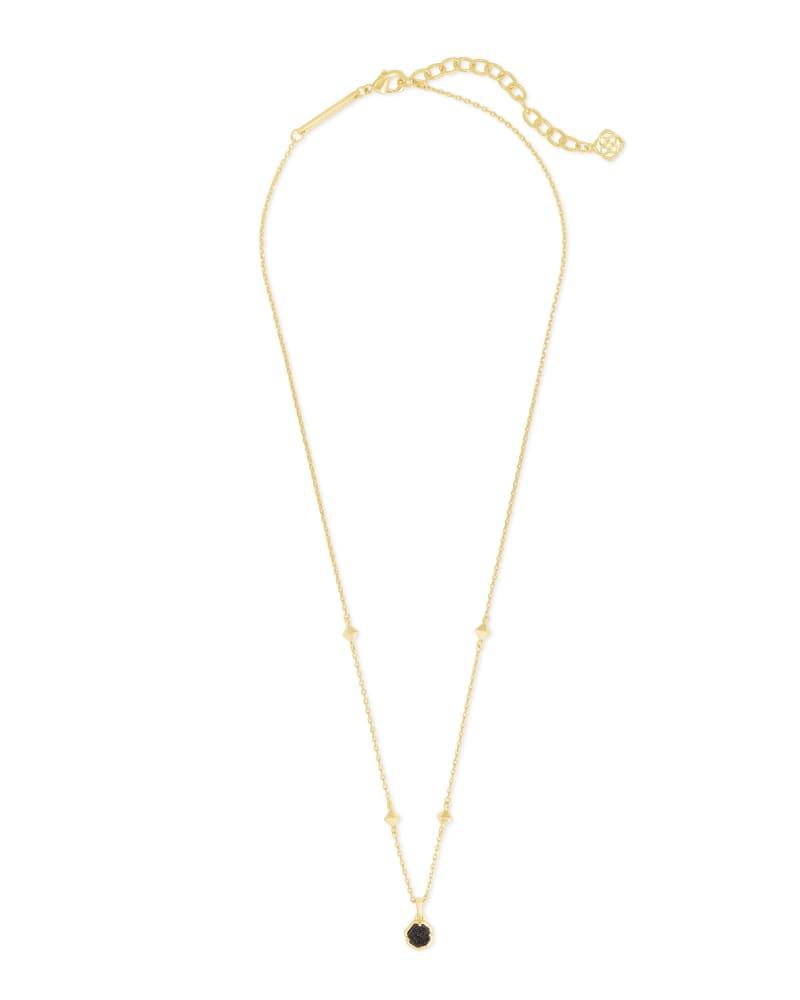 Nola Gold Pendant Necklace in Black Drusy