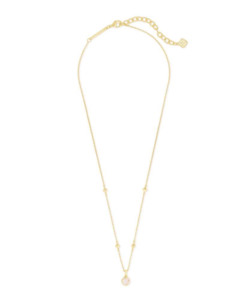 Nola Gold Pendant Necklace in White Kyocera Opal