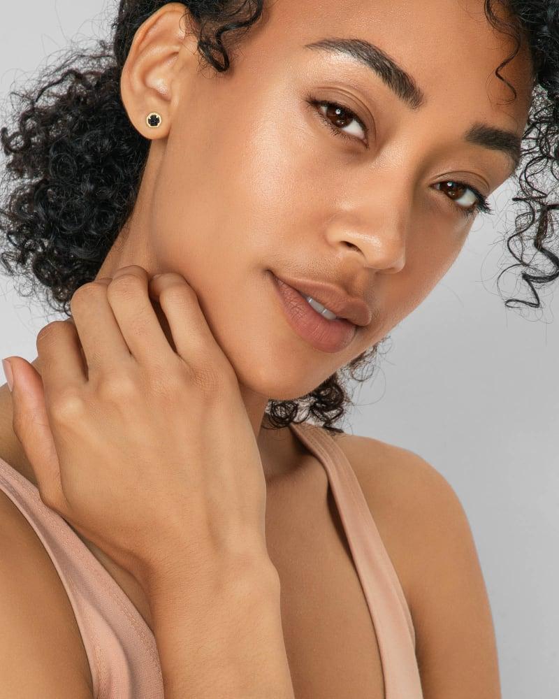Nola Gold Stud Earrings in Black Drusy