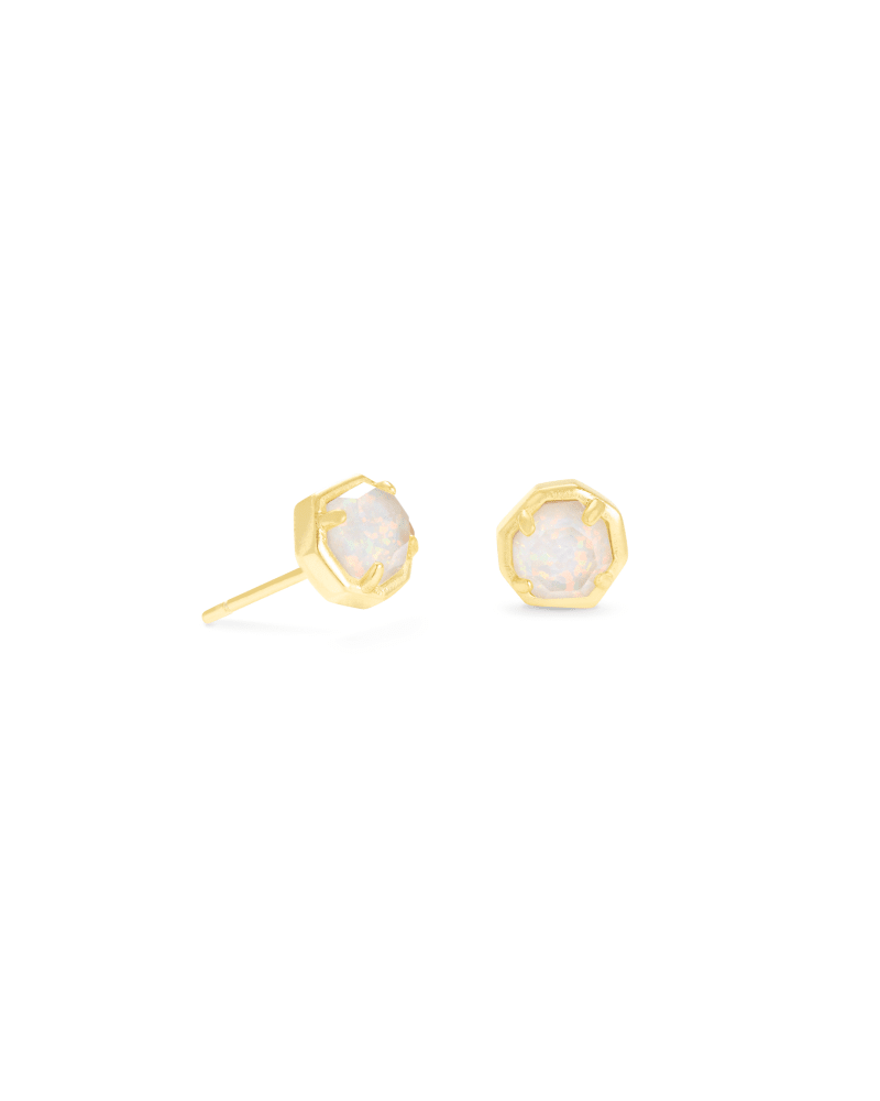 Nola Gold Stud Earrings in White Kyocera Opal Illusion