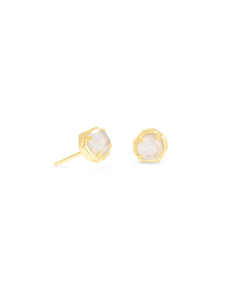 Nola Gold Stud Earrings in White Kyocera Opal Illusion | Kendra Scott