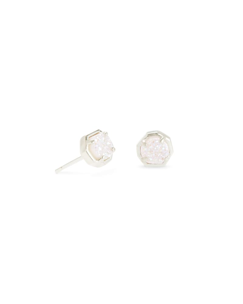 Nola Silver Stud Earrings in Iridescent Drusy