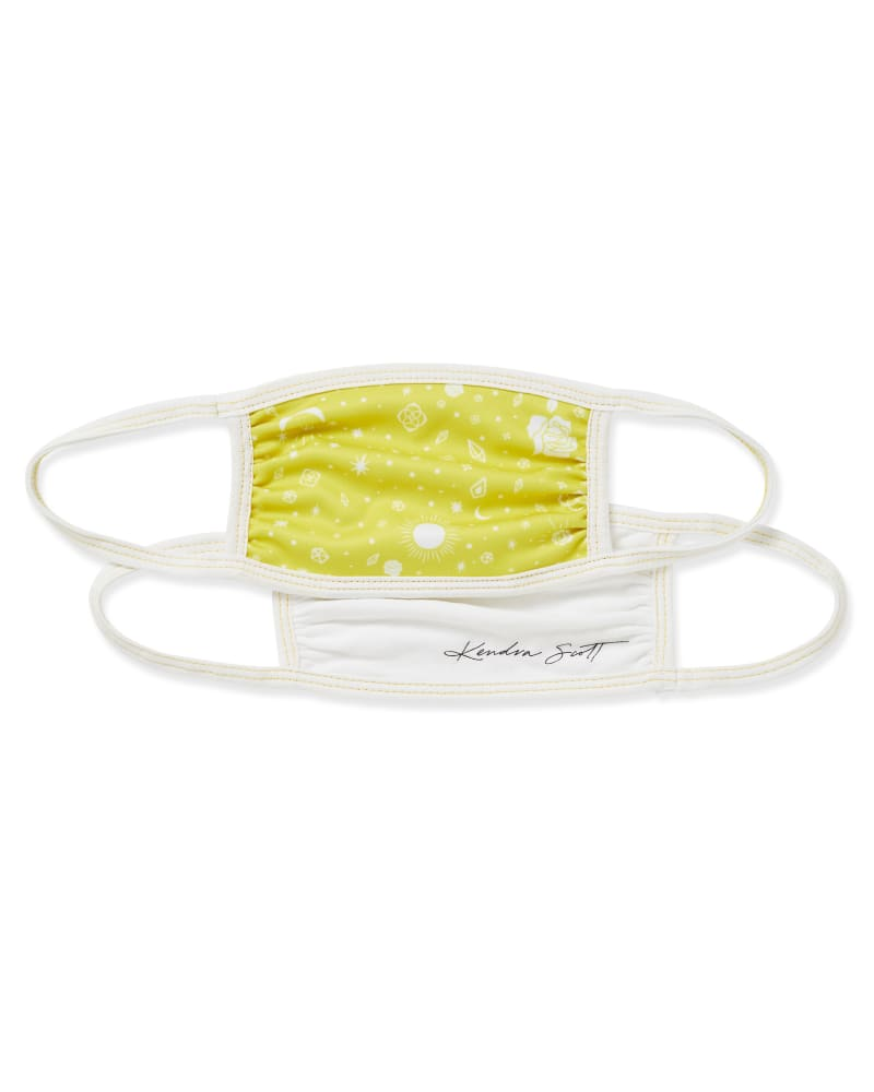 Kendra Scott Face Mask Set of 2 in Yellow Print & White