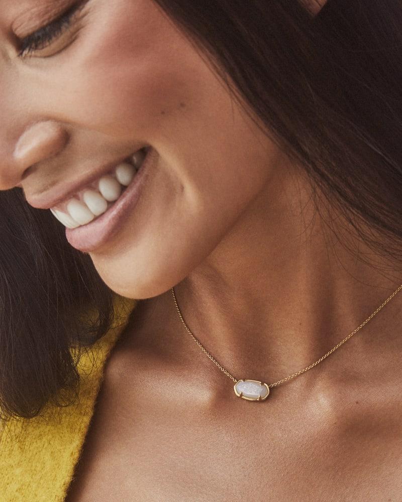 Elisa 18k Gold Vermeil Pendant Necklace in Iridescent Drusy