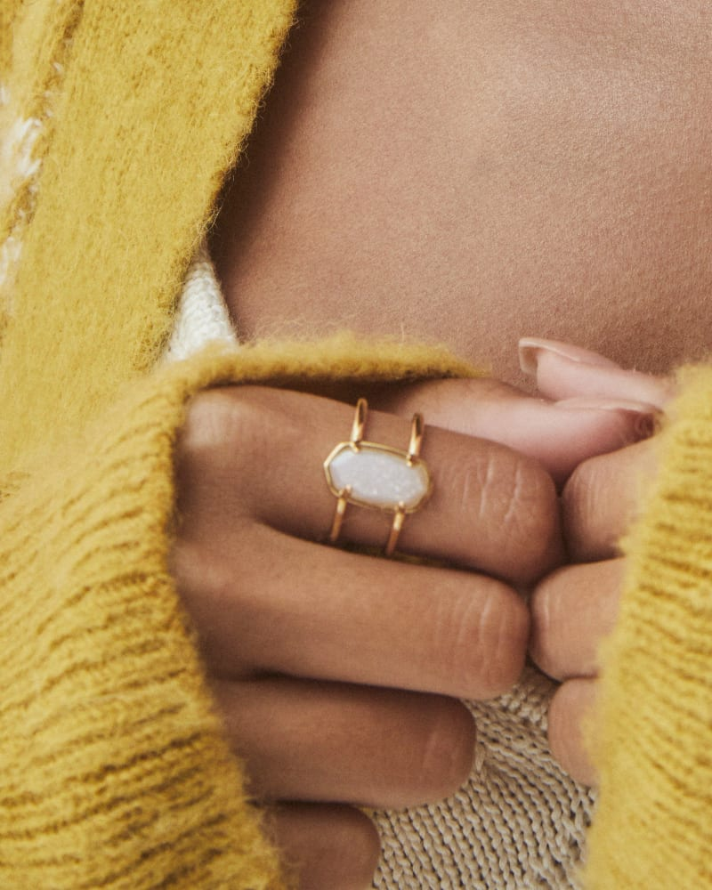 Elyse 18k Gold Vermeil Double Band Ring in Iridescent Drusy