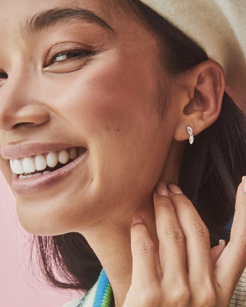 Sasha Sterling Silver Mini Stud Earrings in White Topaz