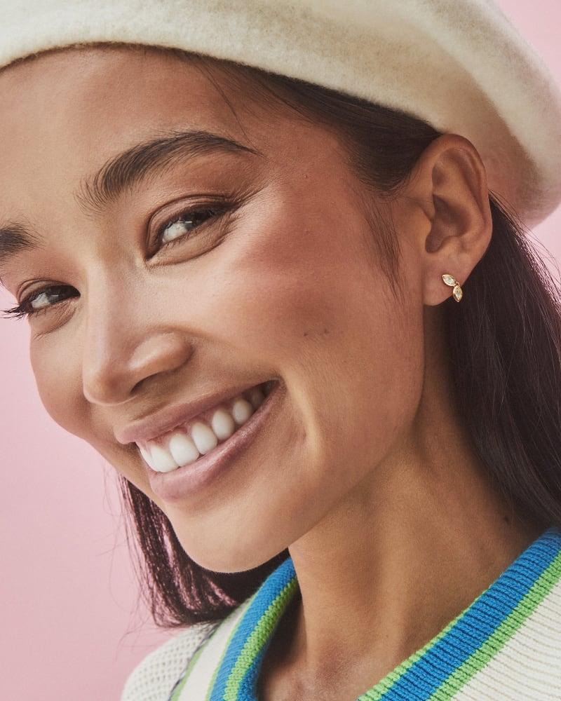 Sasha 18k Yellow Gold Vermeil Mini Stud Earrings in White Topaz
