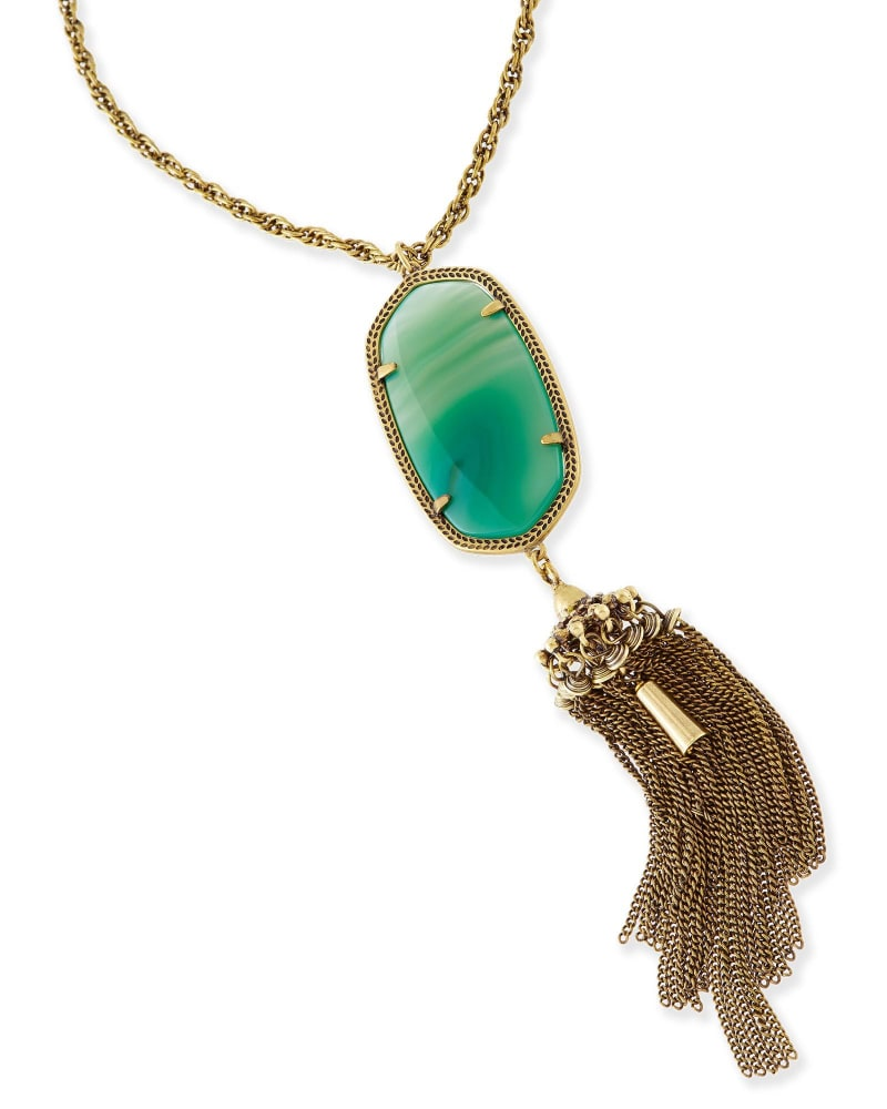 Rayne Long Necklace in Green Banded Agate