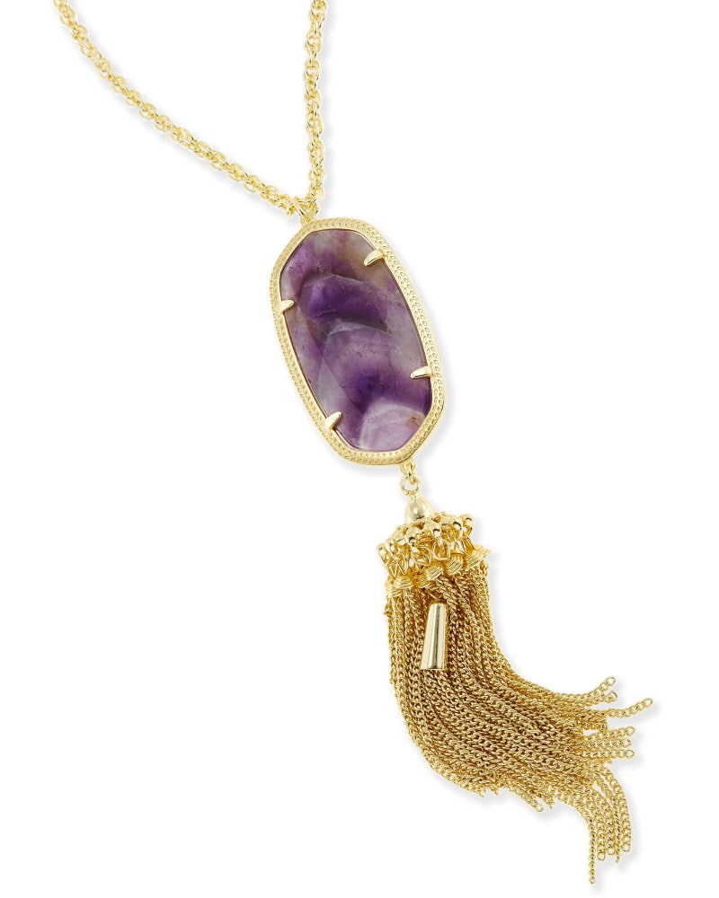Rayne Long Necklace in Chevron Amethyst