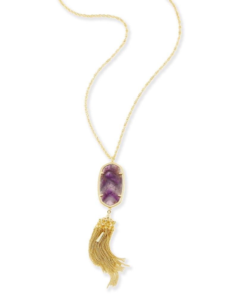 Rayne Long Necklace in Chevron Amethyst