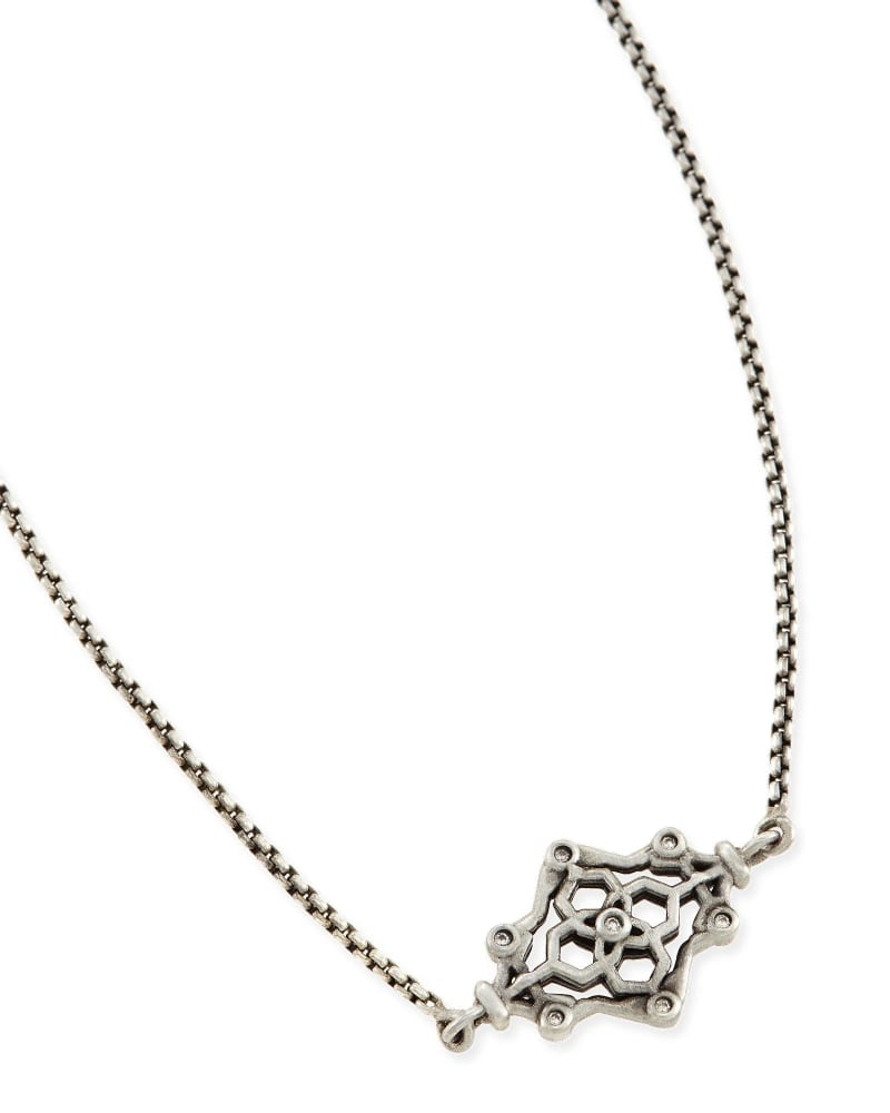 Riley Pendant Necklace in Antique Silver