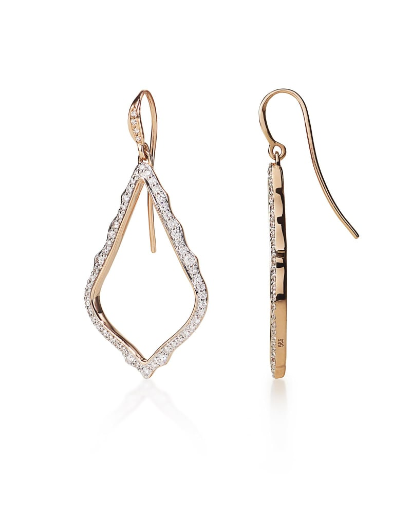 Sophia Drop Earrings in Pave Diamond and 14k Rose Gold