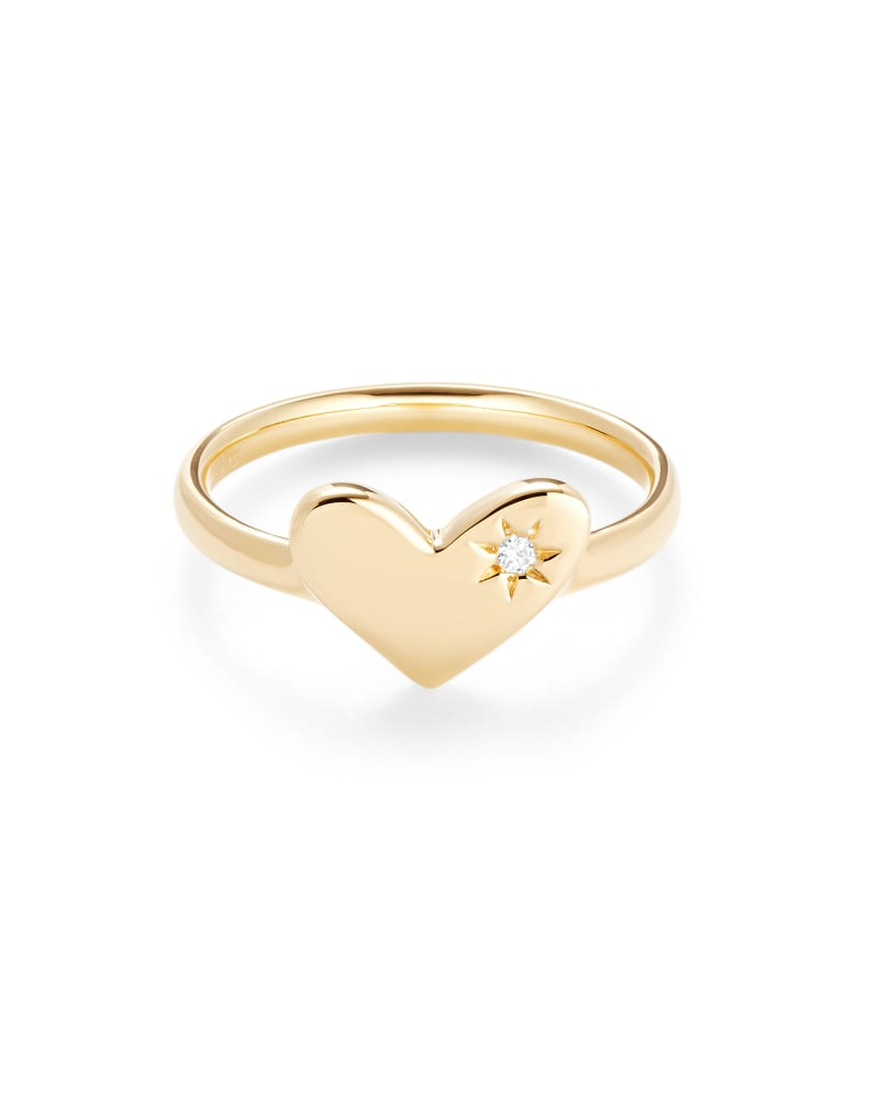 Ari Heart 18K Yellow Gold Vermeil Band Ring in White Sapphire