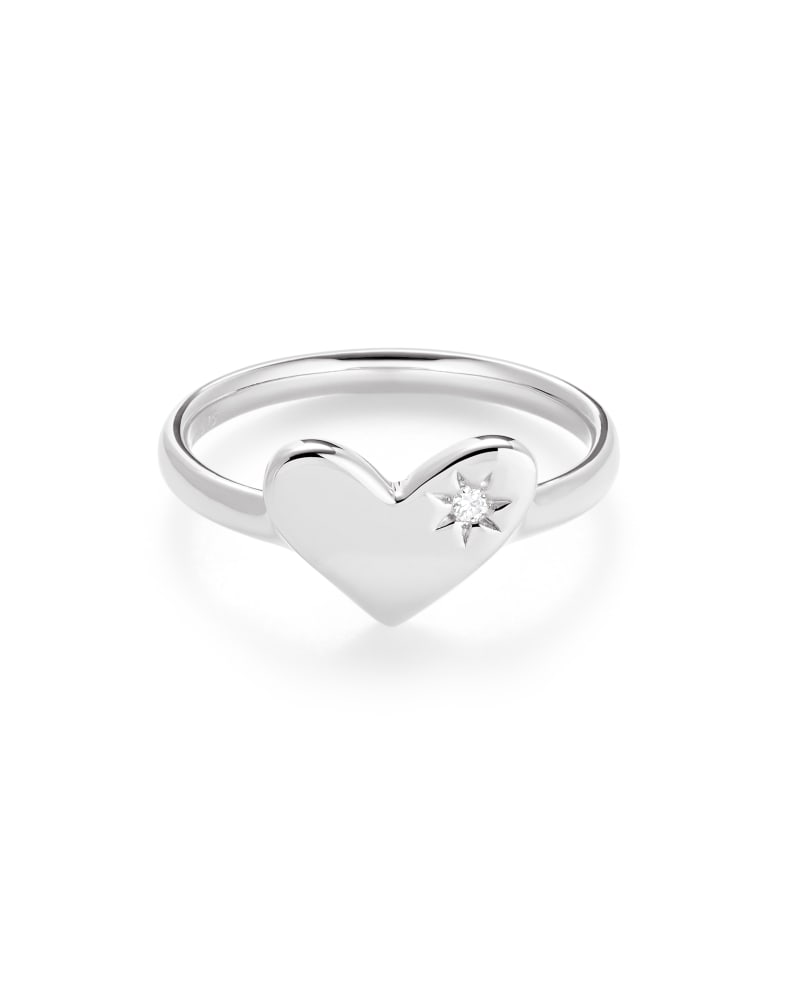 Ari Heart Sterling Silver Band Ring in White Sapphire