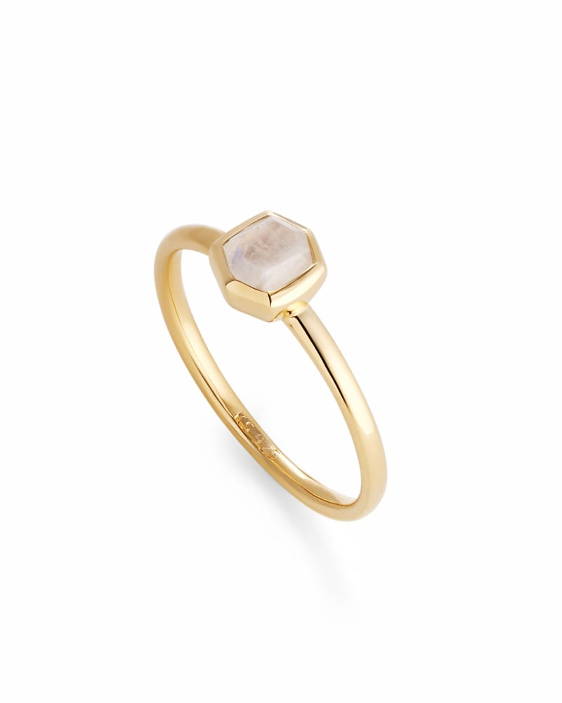 Davie 18k Gold Vermeil Band Ring in Rainbow Moonstone