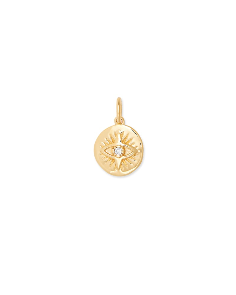 Evil Eye Coin Charm in 18K Gold Vermeil