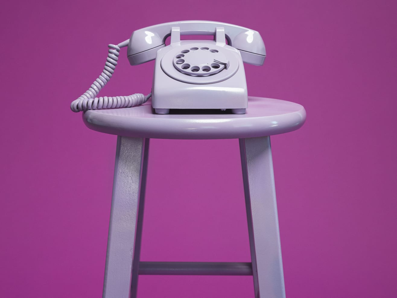 Phone sitting on a stool