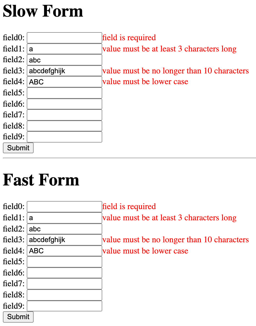 Overview of the app showing two sections with ten fields and a submit button