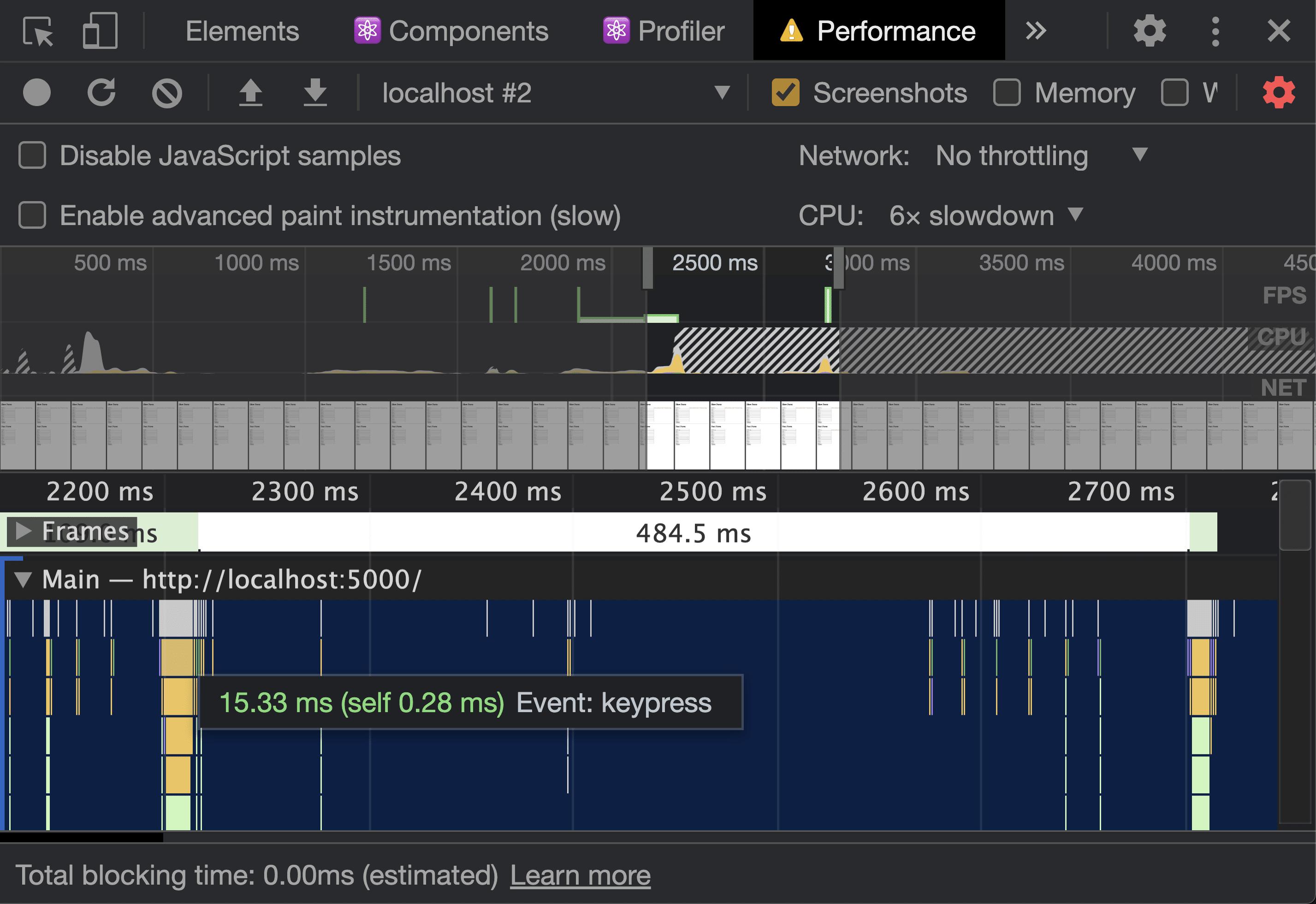 Chrome DevTools Performance Tab showing 15.33 milliseconds on a keypress event