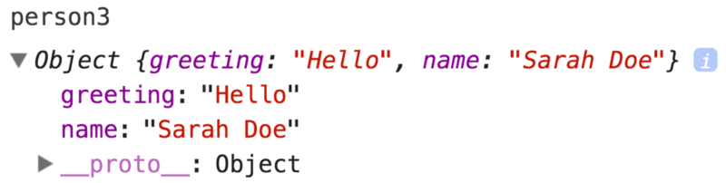 The person3 object with just greeting andname