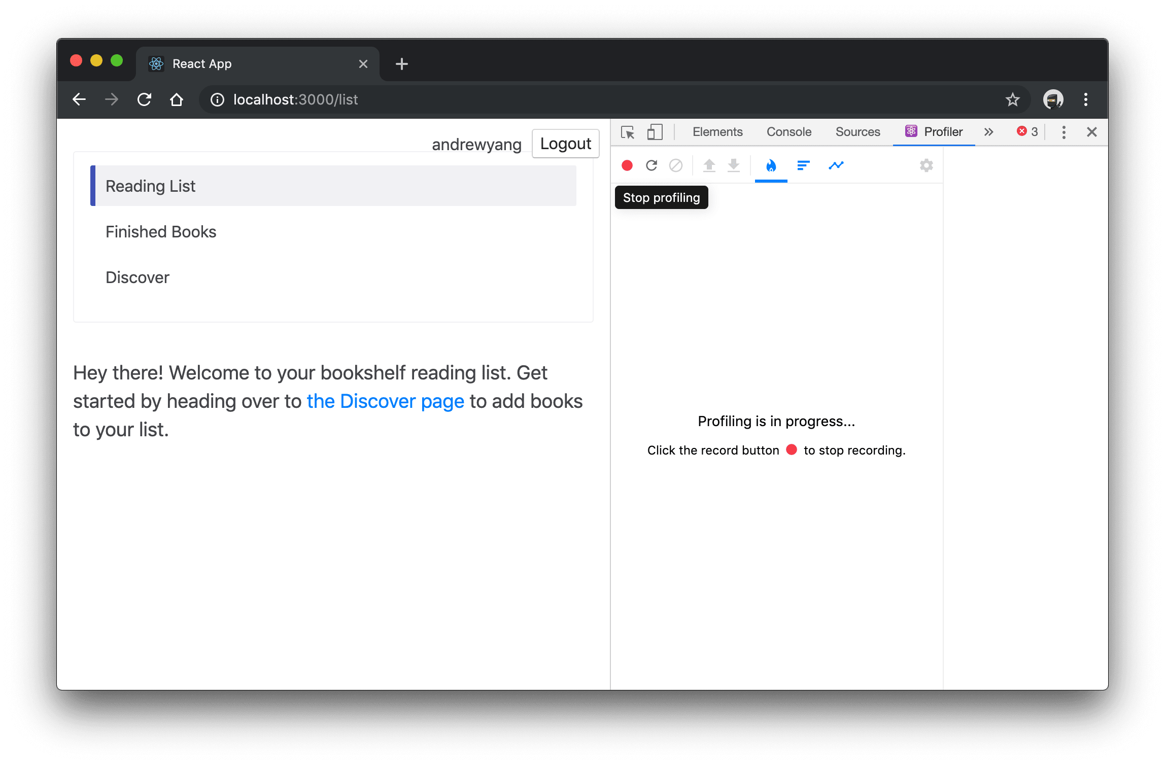 """bookshelf app with React DevTools Profile tab open and red """"Stop profile"""" button highlighted"""