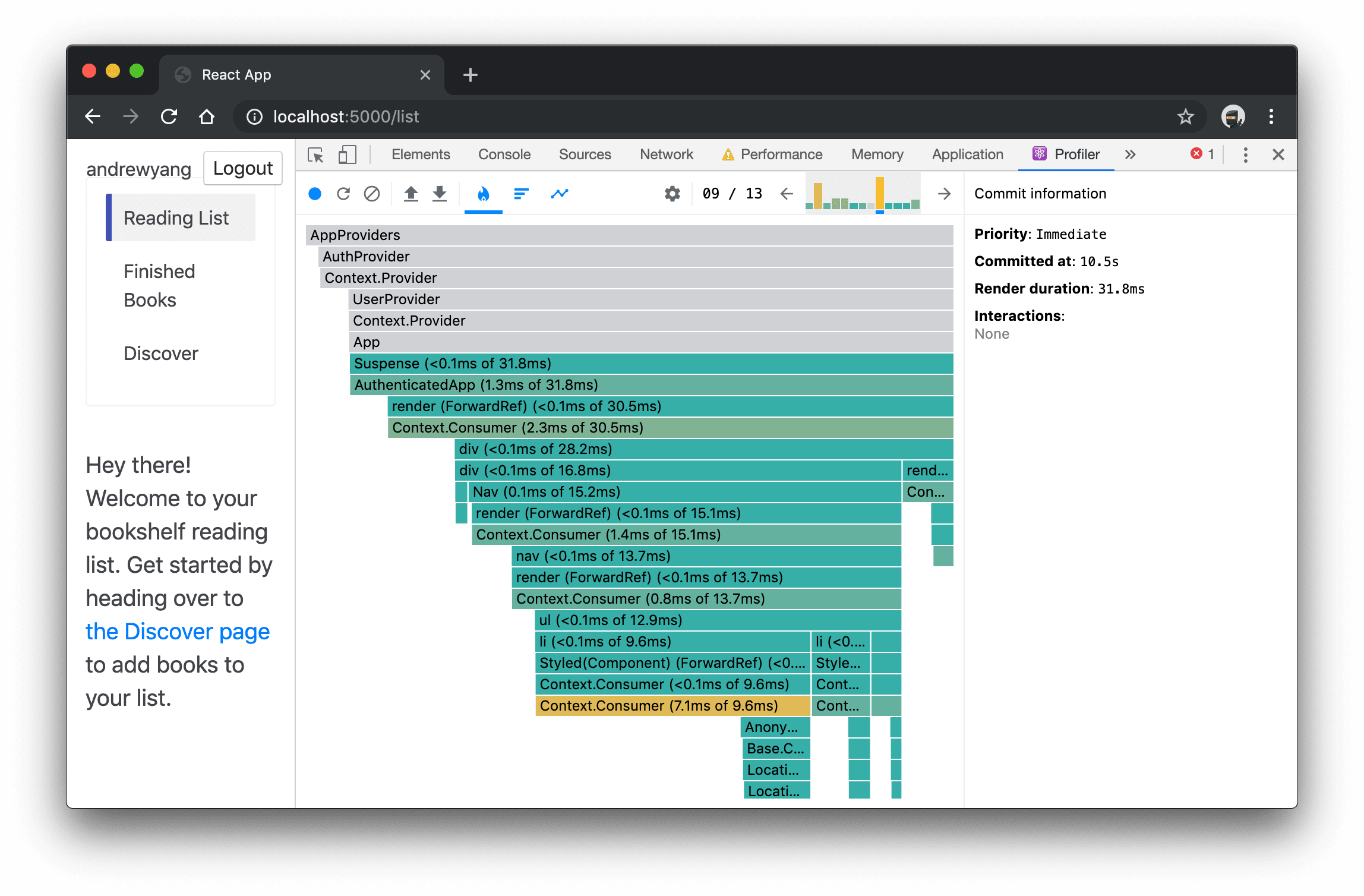 React DevTools Profile tab showing flamegraph