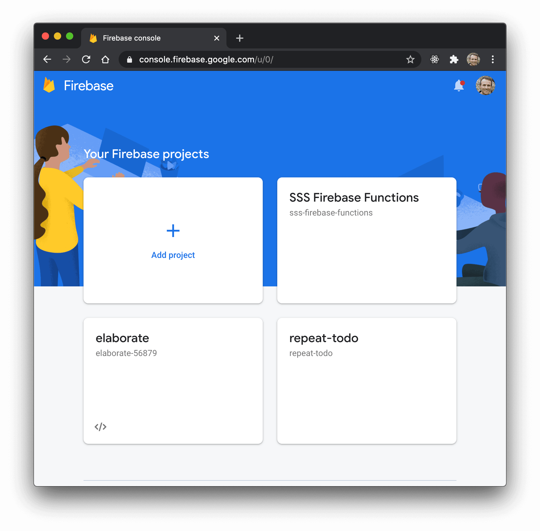 """Firebase console showing an """"Add project"""" button"""