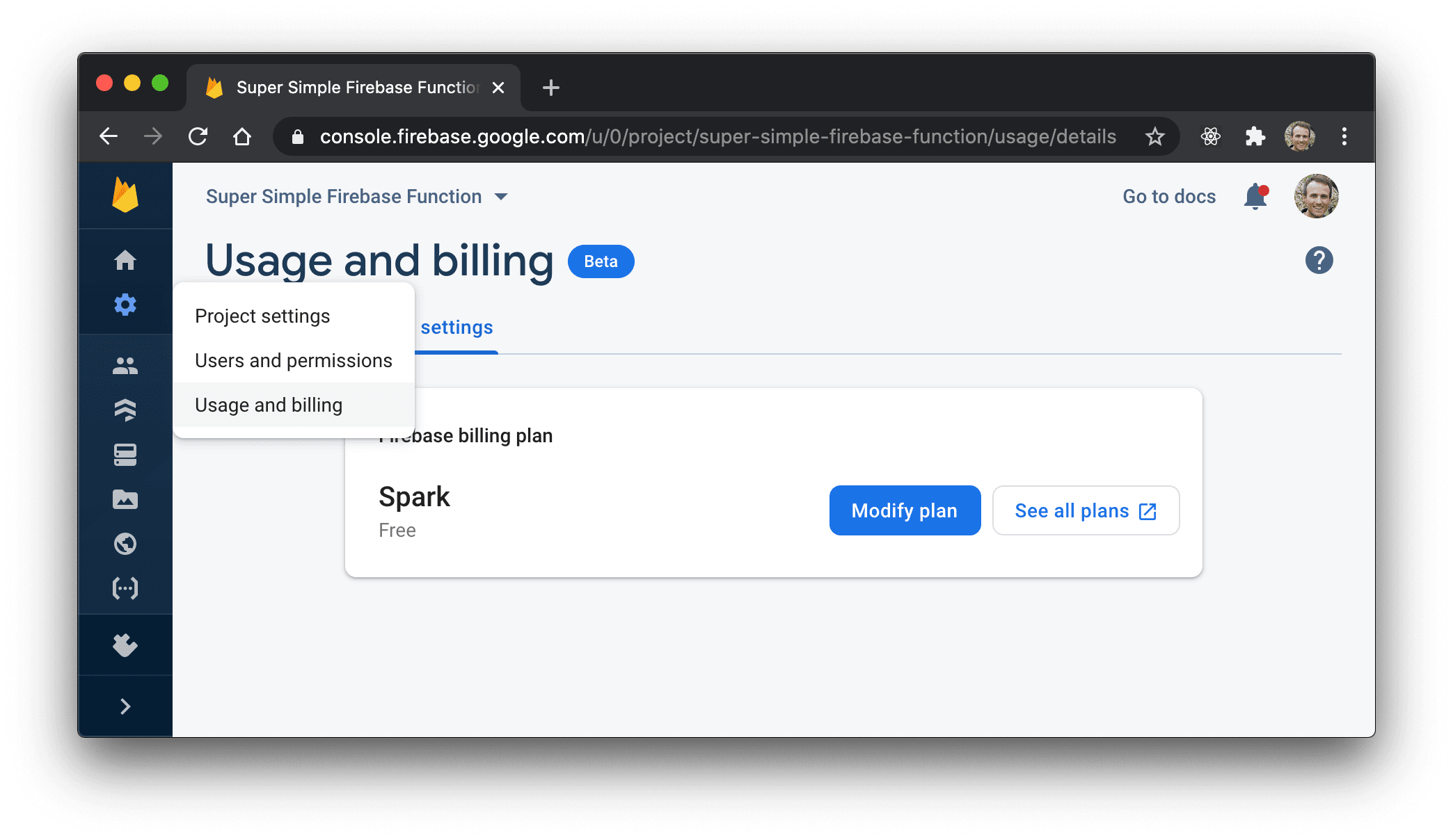 Usage and billing settings page