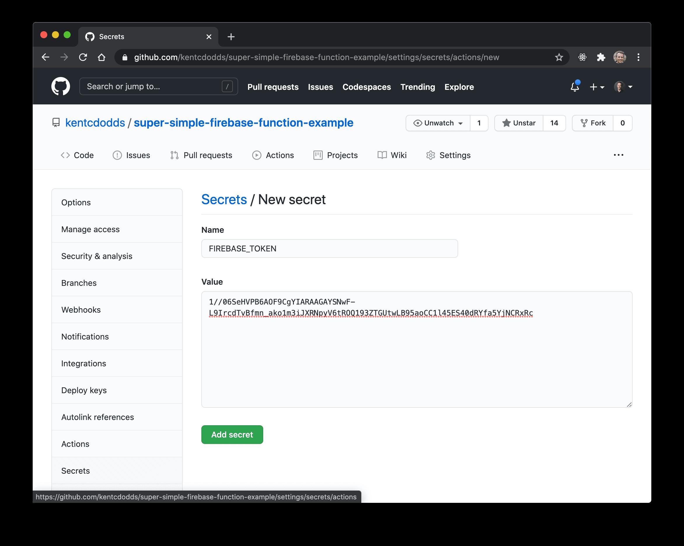 GitHub secrets UI adding the firebase token