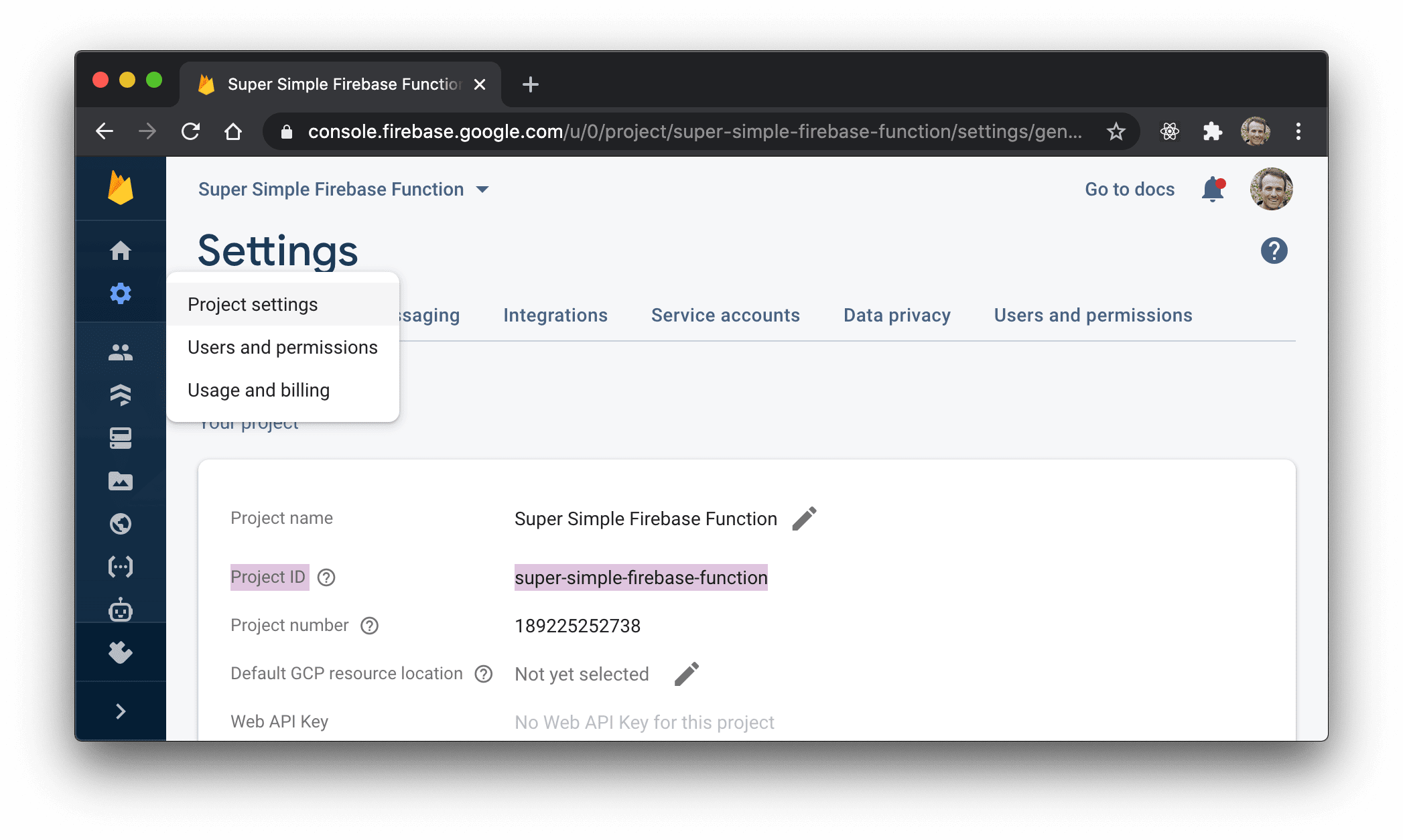 Firebase console showing the setting page with the Project ID