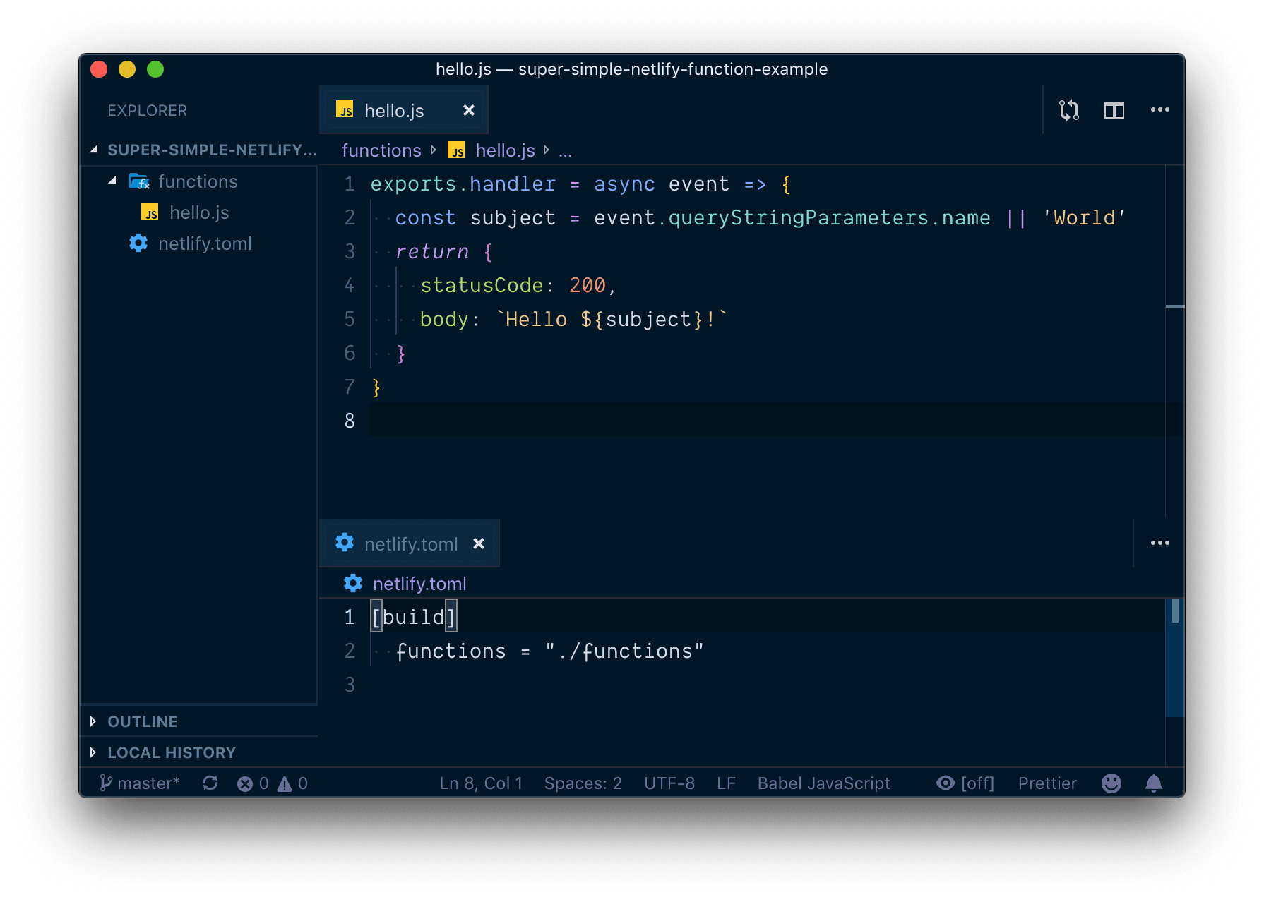 The above code in an editor