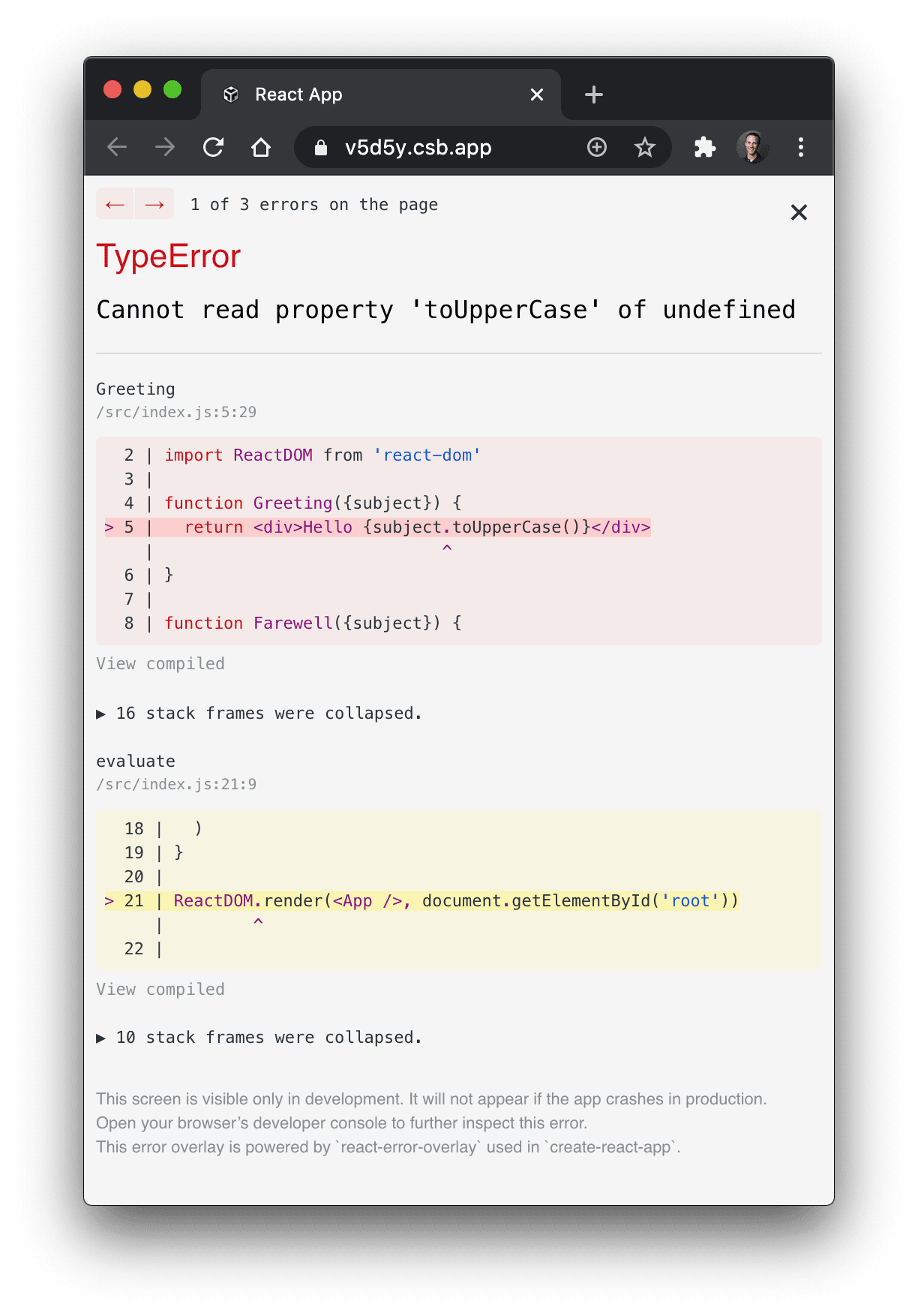 TypeError Cannot read property 'toUpperCase' of undefined