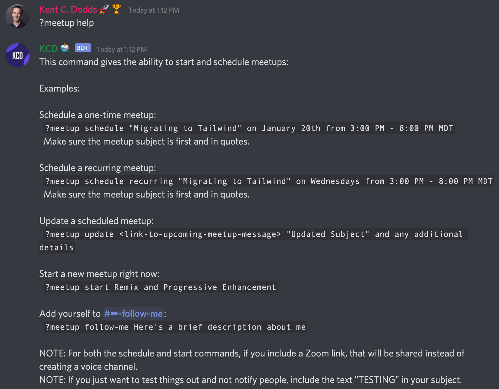 Discord chat showing the KCD bot replying to Kent saying ?meetup help