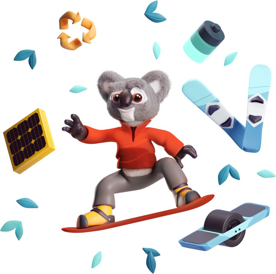Illistration of Kody the Koala standing on a snowboard surrounded by green leaves, a battery, two skies, a one-wheel, a solar panel, and a recycle logo.