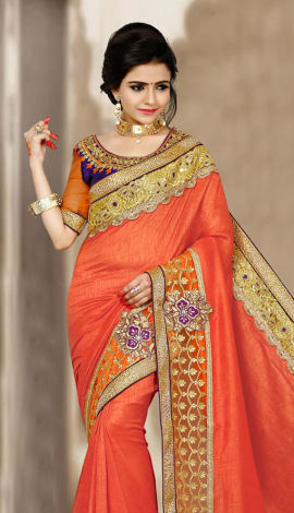 Orange & Brown 2 Ton Short Milano Silk Saree