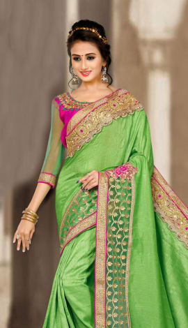 Green & Pink 2 Ton Short Milano Silk Saree