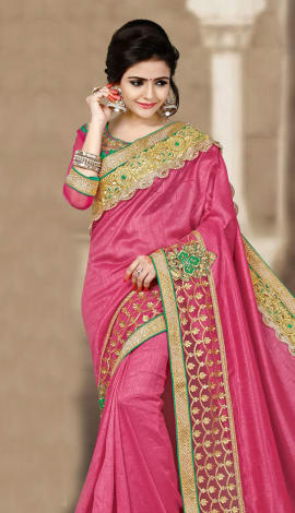 Pink 2 Ton Short Milano Silk Saree