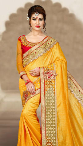 Light Orange 2 Ton Short Milano Silk Saree