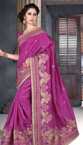Pink Bhagalpuri Silk Heavy Resam Saree