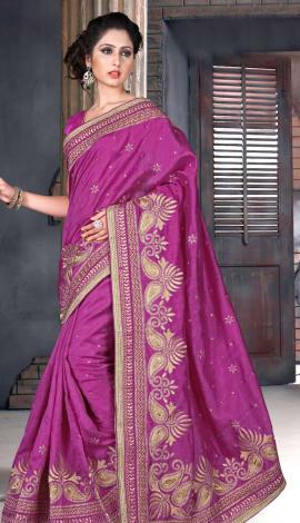 Pink Bhagalpuri Silk Heavy Resam Saree