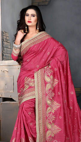 Light Red Bhagalpuri Silk Heavy Resam Saree