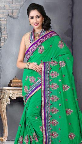 Light Blue Bhagalpuri Silk Heavy Resam Saree